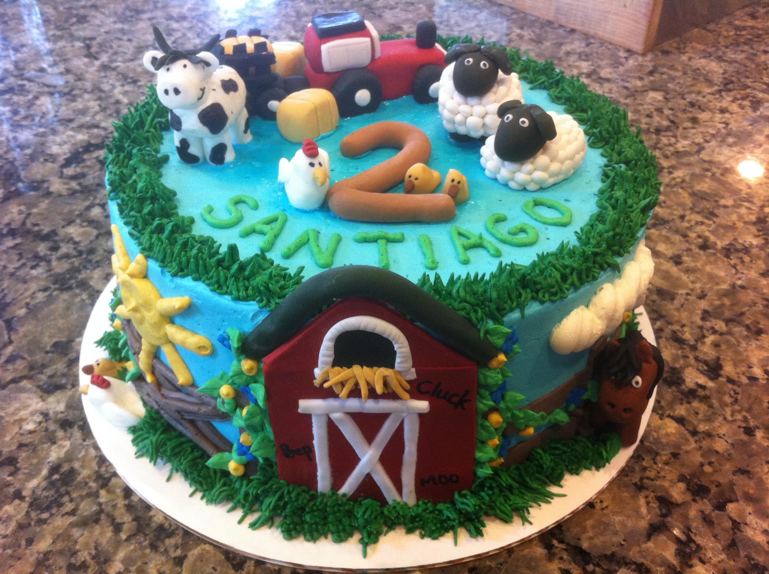 2 Year Old Birthday Farm Cake